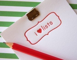 SOS - I love lists, unknown photo credit